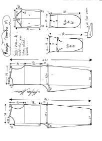 Esquema de modelagem de macacão pijama tamanho M.