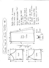 Esquema de modelagem de vestido de alcinha tamanho 48.
