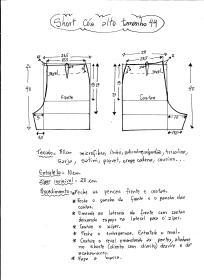 Esquema de modelagem de short cintura alta tamanho 44.