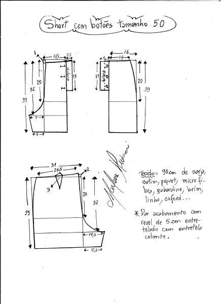 Esquema de modelagem de short com botões na frente tamanho 50.