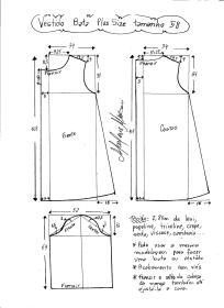 Esquema de modelagem de vestido tipo bata plus size tamanho 58.
