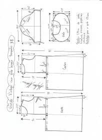 Esquema de modelagem de vestido vintage com gola boneca tamanho 38.