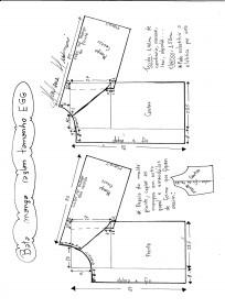Esquema de modelagem de bata raglan tamanho EGG.
