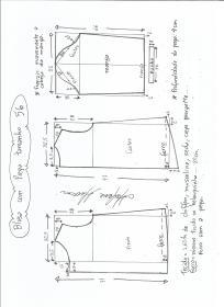 Esquema de modelagem de blusa com prega e manga tamanho 56.