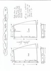 Esquema de modelagem de saia evasê com botões tamanho 44.