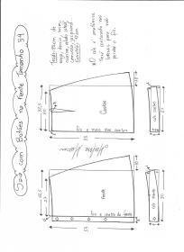 Esquema de modelagem de saia evasê com botões tamanho 54.
