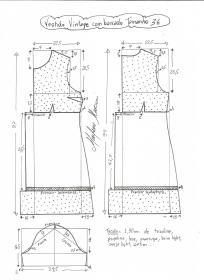 Esquema de modelagem de vestido vintage com babado tamanho 36.