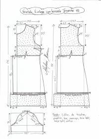 Esquema de modelagem de vestido vintage com babado tamanho 40.
