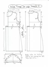 Esquema de modelagem de vestido vintage com prega tamanho 42.