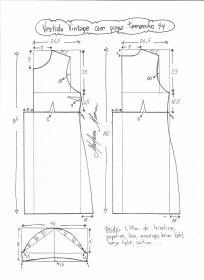 Esquema de modelagem de vestido vintage com prega tamanho 44.