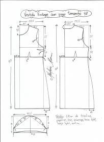 Esquema de modelagem de vestido vintage com prega tamanho 48.