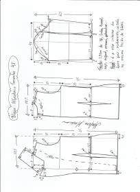 Esquema de modelagem de blazer alfaiataria gola de bico tamanho 48.