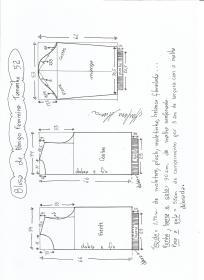 Esquema de modelagem de blusa  de moletom tamanho 52.