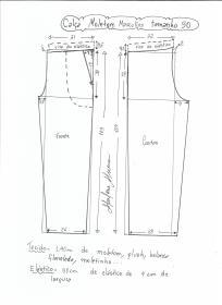 Esquema de modelagem de calça de moletom masculina tamanho 50.