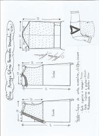 Esquema de modelagem de blusa morcego  Fátima Bernardes tamanho M.