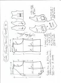 Esquema de modelagem de colete feminino alfaiataria tamanho 40.
