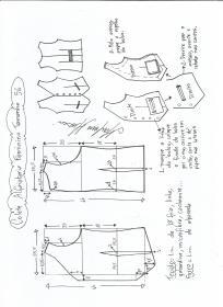 Esquema de modelagem de colete feminino alfaiataria tamanho 56.