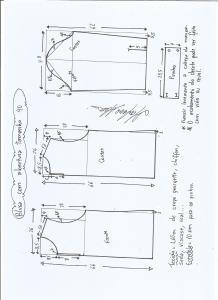 Esquema de modelagem de blusa com abertura na frente e costas tamanho 40.
