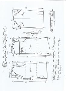 Esquema de modelagem de blusa com abertura e meio colarinho tamanho 38.