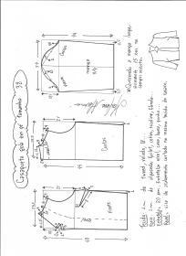 Esquema de modelagem de casaqueto gola alta com manga 3/4 tamanho 38.