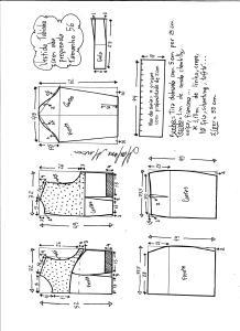Esquema de modelagem de vestido tubinho com aba pregueada e detalhe em renda tamanho 56.