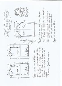 Esquema de modelagem de vestido meia estação de renda e manga 3/4 tamanho 42.