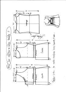 Esquema de modelagem de blusa com abertura no ombro para malha tamanho P.