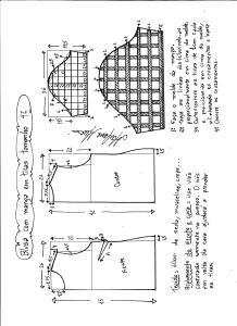 Esquema de modelagem de blusa com manga em tiras tamanho 42.