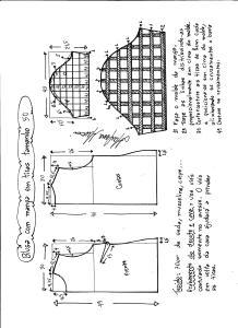 Esquema de modelagem de blusa com manga em tiras tamanho 50.