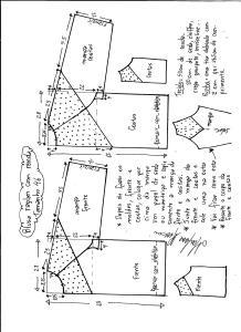 Esquema de modelagem de blusa raglan com recortes tamanho 46.