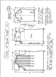 Esquema de modelagem de camisa com nervuras tamanho 56.