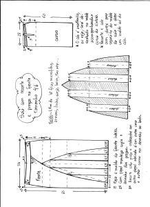Esquema de modelagem de saia com recorte vertical e pregas tamanho 46.