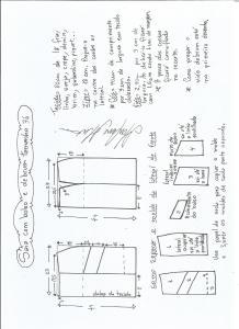 Esquema de modelagem de saia com bolsos e debrum tamanho 36.