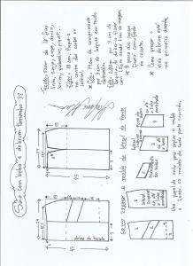 Esquema de modelagem de saia com bolsos e debrum tamanho 38.