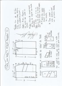Esquema de modelagem de saia com bolsos e debrum tamanho 52.
