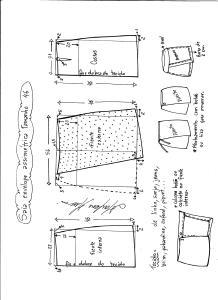 Esquema de modelagem de saia envelope assimétrica tamanho 46.