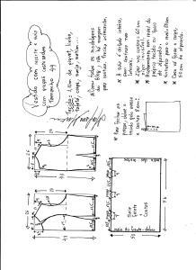 Esquema de modelagem de vestido com recorte e pregas costuradas tamanho 44.