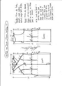 Esquema de modelagem de vestido tubinho com decote cruzado tamanho 36.