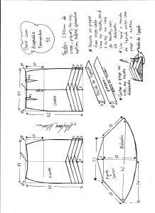 Esquema de modelagem de saia sino com pregas diagonais tamanho 40.