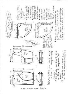 Esquema de modelagem de vestido godê com decote nas costas tamanho 54.