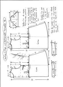 Esquema de modelagem de vestido vintage com botões na frente tamanho 48.
