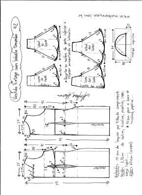 Esquema de modelagem de vestido vintage com babado na barra tamanho 42.