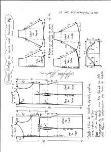 Esquema de modelagem de vestido víntage evasê com recorte tamanho 40.