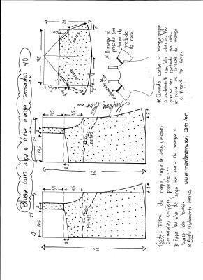 Esquema de modelagem de blusa com alça e meia manga tamanho 40.
