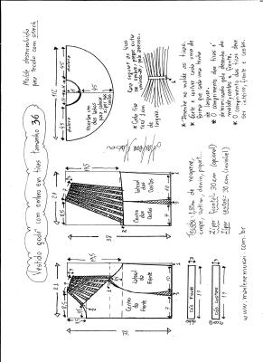 Esquema de modelagem de vestido godê com tiras no ombro tamanho 36.