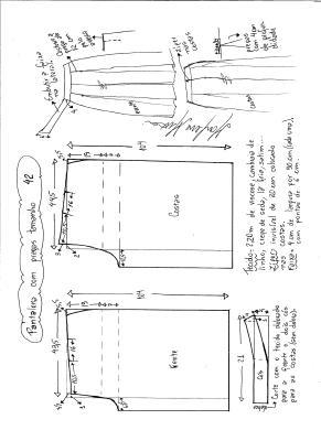 Esquema de modelagem de pantalona com pregas tamanho 42.
