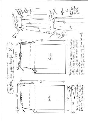 Esquema de modelagem de pantalona com pregas tamanho 54.