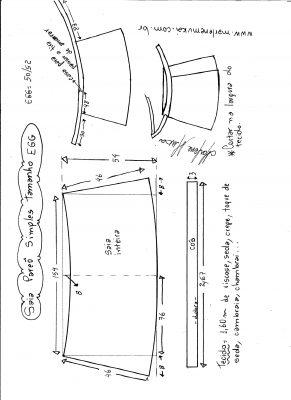 Esquema de modelagem de saia envelope simples tamanho EGG.