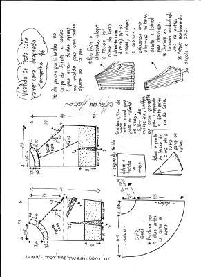 Esquema de modelagem de Vestido de festa cava americana tamanho 46.