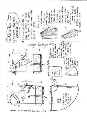 Esquema de modelagem de Vestido de festa cava americana tamanho 52.